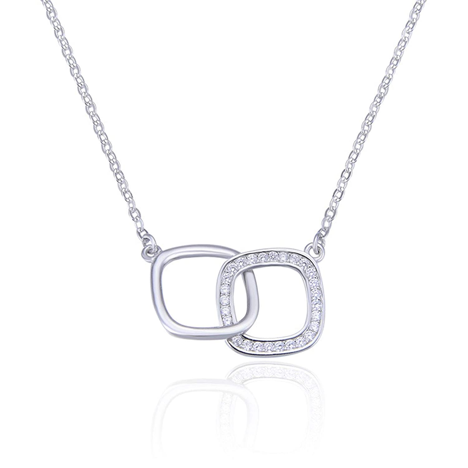 Daesar 925 Sterling Silver Necklace with Pendant Necklace for Women Fashion Hollow Rectangle Necklace Cubic Zirconia Silver