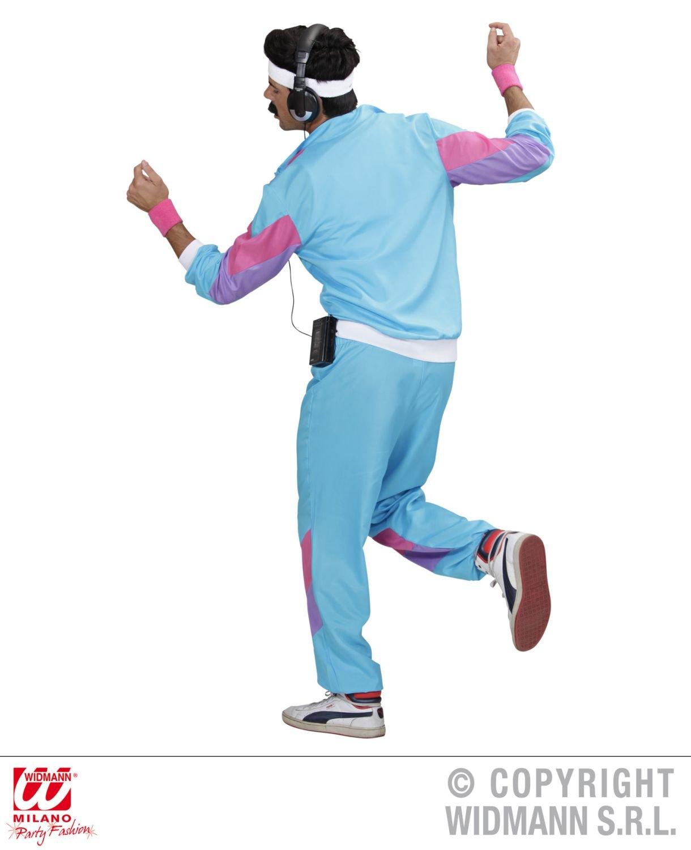 incl Tuta per travestimento anni 80 Taglia S per Adulti Widmann 98871 giacca e pantaloni Azzurro