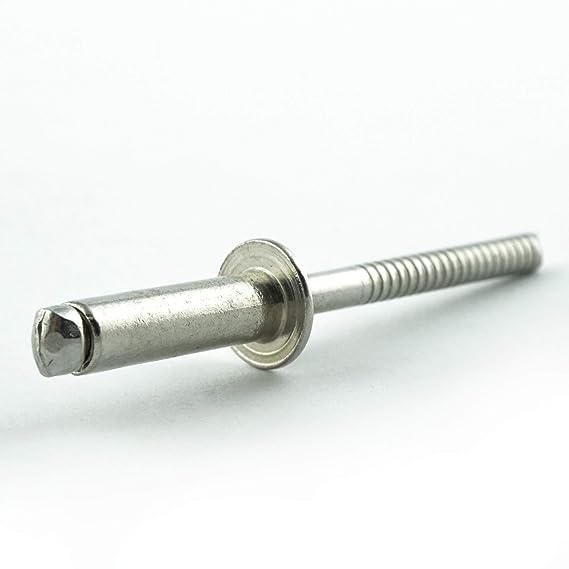rostfrei - mit Flachkopf Popnieten DIN 7337 Edelstahl A2 V2A 6,4 x 12 mm Blindniet ISO 15983 Eisenwaren2000 Niet 40 St/ück