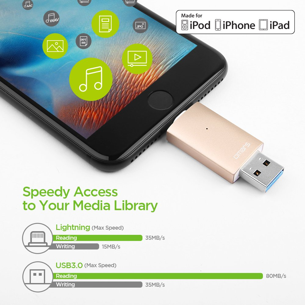 iPhone Lightning Flash Drive 32GB, Omars OTG USB 3.0 External Storage Memory Stick Adapter Expansion for iPhone, iPad, iPod, Mac, Android and PC [Apple MFI Certified] (32G, Gold)