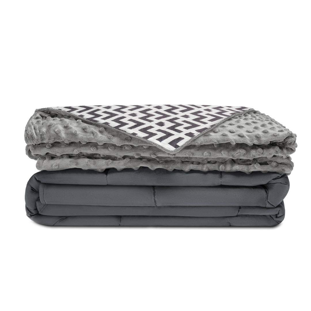 """Quility Premium Kids & Adult Weighted Blanket & Removable Cover   12 lbs   48""""x72""""   for Individual Between 100-140 lbs   Twin Size   Premium Glass Beads   Cotton/Minky   Grey/Navy Blue WB-AWB-4872-12LBS"""