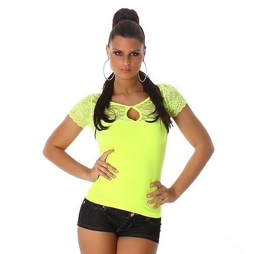 Jela London signore camicia della parte superiore manica corta T-shirt con pizzo