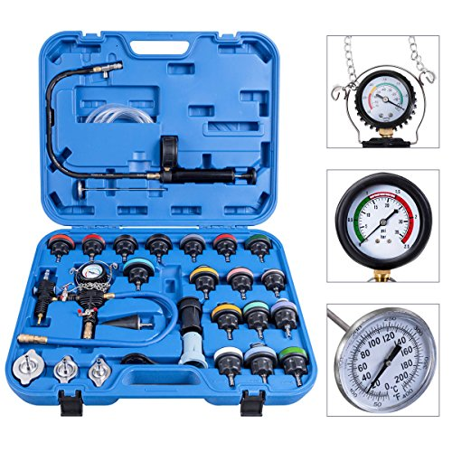 Goplus 28PCS Universal Radiator Pressure Tester Leak Checker Vacuum Type Cooling System Automotive Radiator Pressure Test Kit Purge and Refill Kit Set w/Carrying Case