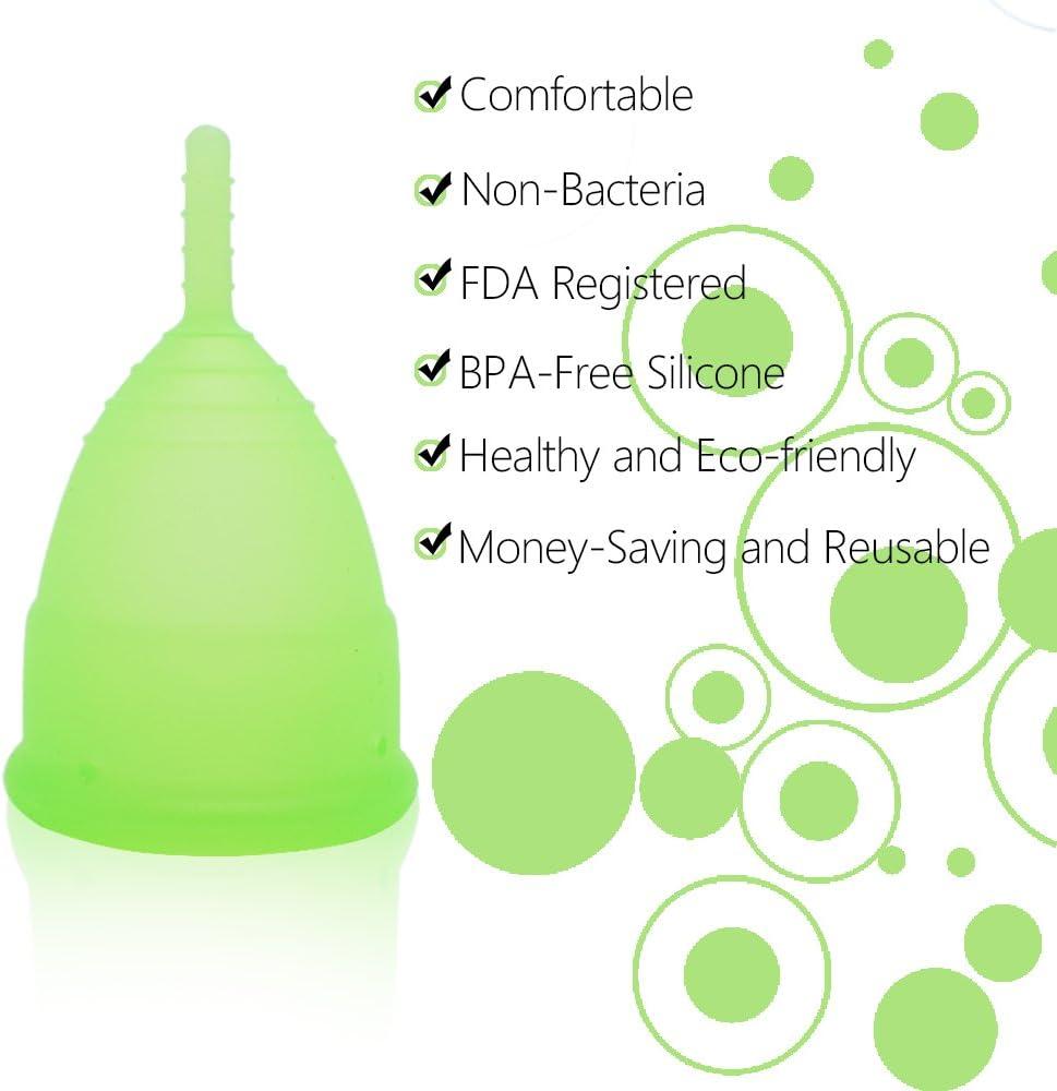 SPEQUIX Copa menstrual reutilizable para mujer con 1 taza esterilizadora y 1 cepillo de limpieza (L)
