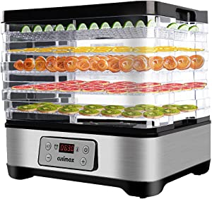 Food Dehydrator Machine, Dryer Dehydrators for Food and Jerky with Digital Time & Temperature Control, Fast Drying for Beef Jerky, Fruits, Vegetables, 5 BPA-Free Trays, Overheat Protection