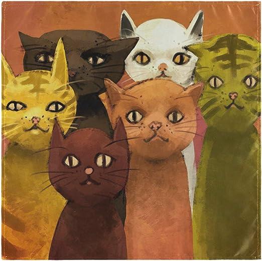 Felices cenas Servilletas de Tela de 4 Piezas Mantel de Mesa Gato Divertido Familia Animal Print para Banquetes Familiares Bodas Fiestas Restaurante: Amazon.es: Hogar