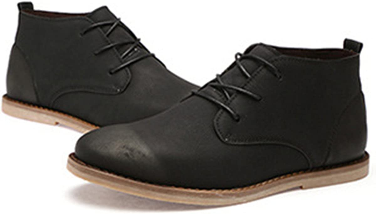 FOXSENSE Premium Genuine Leather Handmade Chelsea Lace up Ankle Boots Formal Dress Shoes for Men