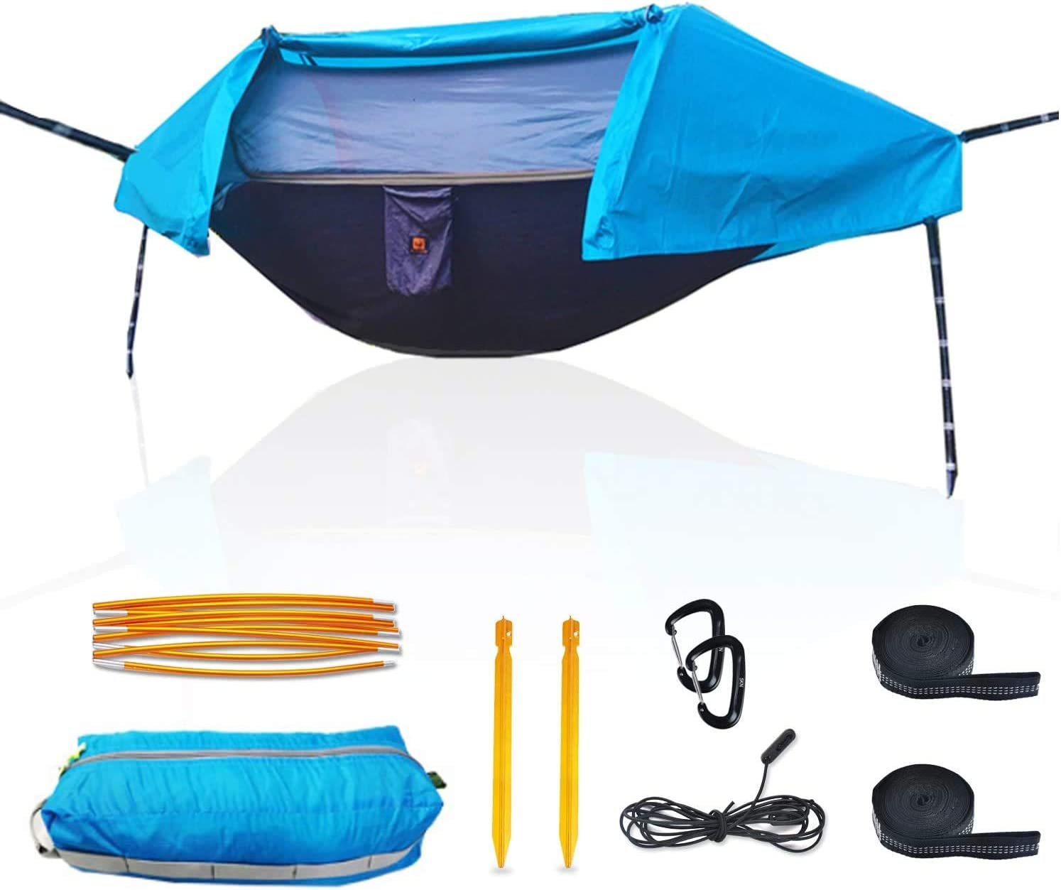 OHMU Camping Hammock with Mosquito Net and Rainfly Cover Portable Hammock Tent Blue