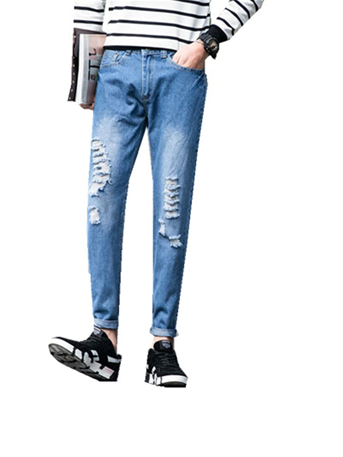 DAWENBI Classic Mens hole jeans pants straight Korean version of the harem pants
