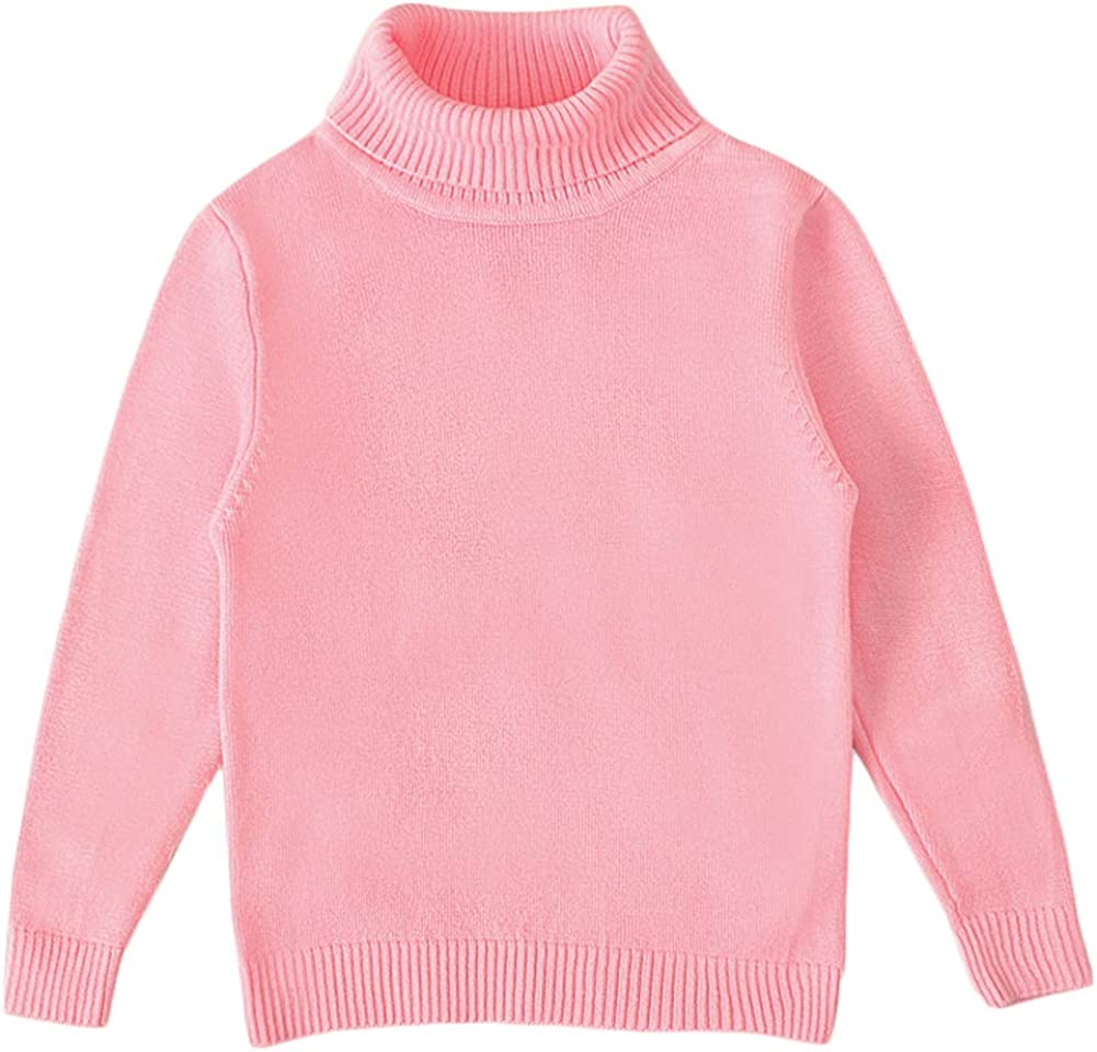 Baby Boys Girls Long Sleeve Knit Pullover Turtleneck Sweater Winter Warm Solid Color Top