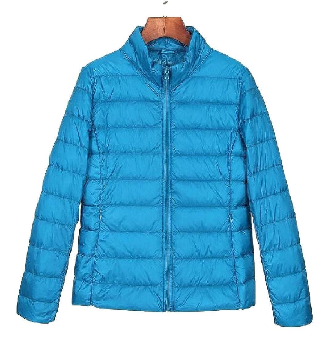 bluee Qiangjinjiu Women Stand Collar Long Sleeve Lightweight Down Jacket Coat