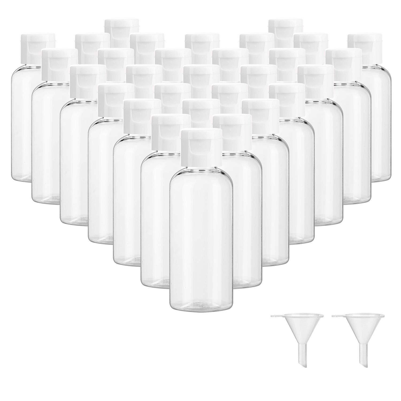 30 Pcs 2 oz Clear Plastic Empty Bottles, Travel Size Bottles with Flip Cap Small Bottles for Liquids Toiletries Shampoo Lotion Conditioner