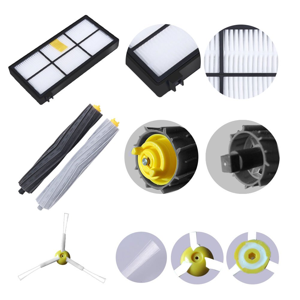 ABC life Accessories Kit for iRobot Roomba 800 900 series Replenishment iRobot Set Side Brushes & Filters & Debris Rollers & Screws for Vacuum Cleaner Robot (13 in 1)