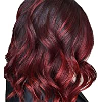 Alextreme Women Gradient Red Black Long Curly Wig Synthetic Wavy Hair Heat Resistant Cosplay Wig