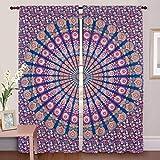 DIYANA IMPEX Indian Peacock Mandala Cotton Hippie Tapestry Door Curtain Decor Window Curtains Drape Room Curtain Balcony