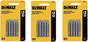 DEWALT DW2115#2 Phillips 2-Inch Power Bit, 5 Count Per Pack, 3 Pack