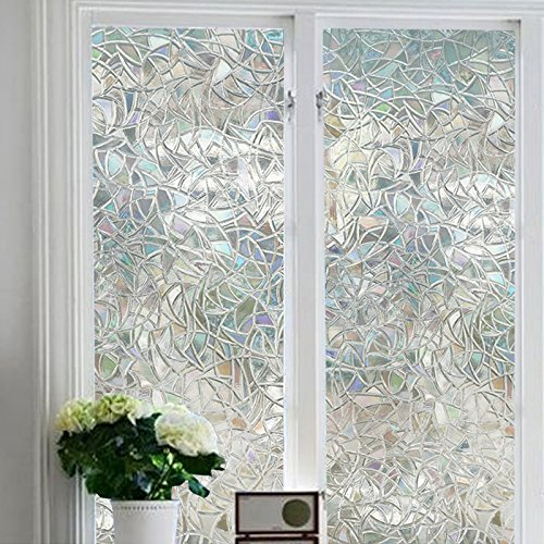 Window Film 3D Decorative No Glue, Reflective Window Decor Glass Door Film Privacy Protection Heat Control Anti UV,Stained Glass Static Cling for Kitchen Bedroom(17.7''x78.7'') by UooMay