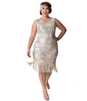 c67111eb3bdf8 Unique Vintage Plus Size 1920s Champagne   Silver Sequin Sidecar Fringe  Flapper Dress - -