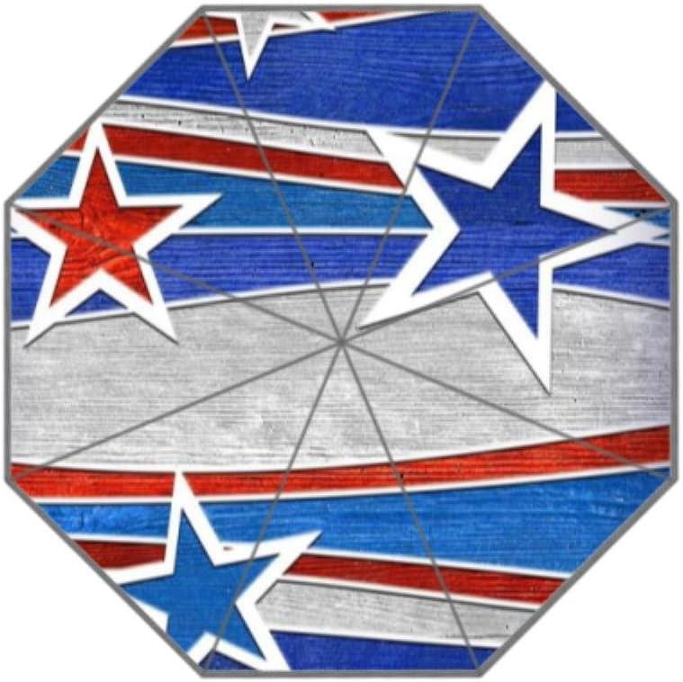 Coolstuffs Blue Red Star Foldable Umbrella Travel Umbrellas for Women