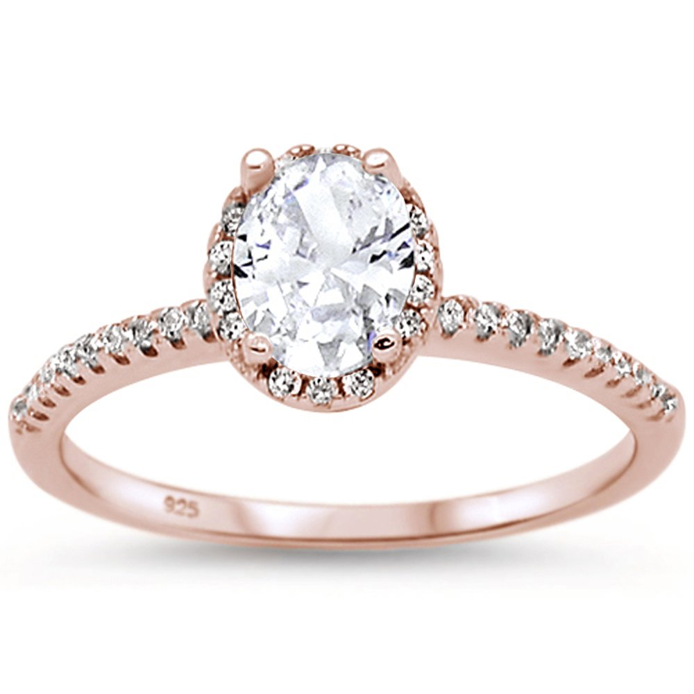 Oxford Diamond Co Sterling Silver Rose Gold Plated Oval Cut Cubic Zirconia Engagement Ring Sizes 6