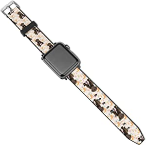 NiYoung Women Men Puppy Chocolate Lab Kisses Compatible with Apple Watch Bands 38mm 40mm 42mm 44mm Adjustable Sport Bands for iWatch