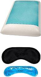daydream Kopfkissen aus Memory Foam mit blauem Gel und Bezug, 70 x 40 x 11 cm + Premium-Schlafmaske mit Kühlkissen