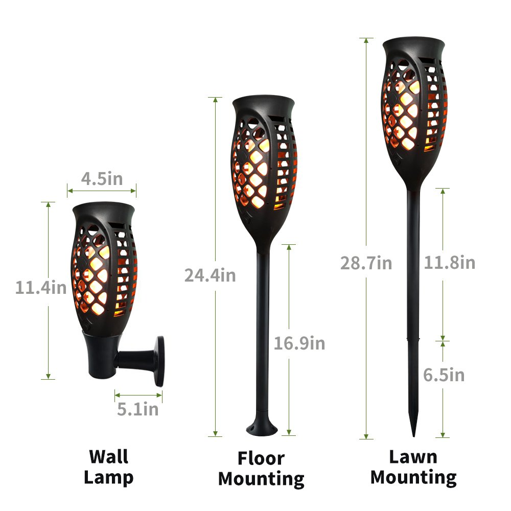 Petrala Solar Lights Outdoor Torch Light 3 Modes Dancing Flames Waterproof Dusk to Dawn Auto On Off Warm Path Lighting for Patio Garden Path Driveway, 4 Pack by Petrala (Image #5)