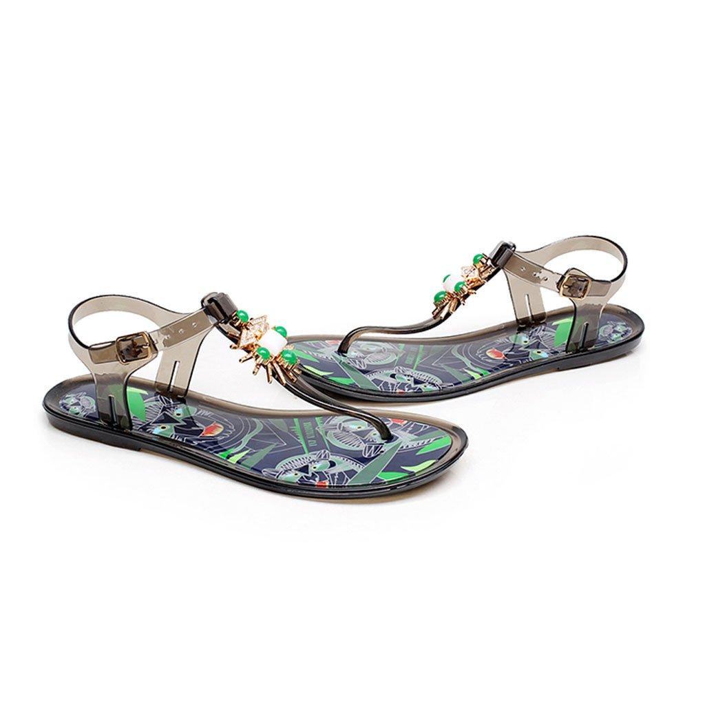 Sandals Bohemian Painted Summer Female Clip Toes Shoes Rhinestone Beach Shoes Toes Flat Bottom B07D3M6QZ6 EU38/UK5.5/CN38 Dark Grey 8a0822