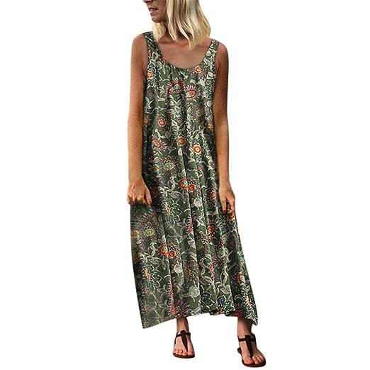 d065b554017d0 Women's O-Neck Sleeveless Summer Asymmetrical Hem Beach Dress Retro Floral Maxi  Dress