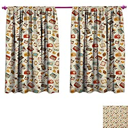 homefeel Vintage Room Darkening Wide Curtains Retro Pattern Old Fashioned Icons Alarm Clock Typewriter Gramophone Radio Cassette Decorative Curtains for Living Room W84 x L72 Multicolor