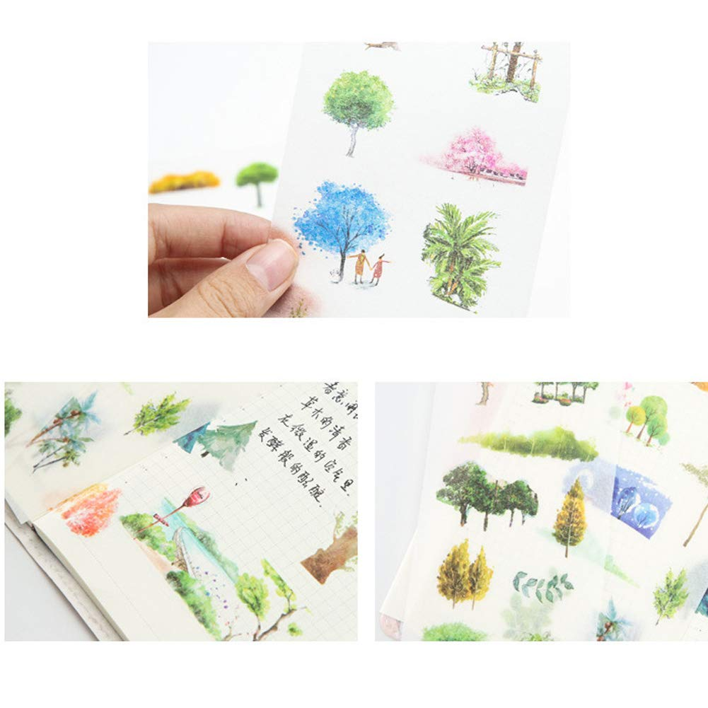 Summers Gift 3 Set Fresh Floral Summer Green Plants Leaf Flower Tree Branches Stationery Sticker Scrapbooking Planner Journal Diary DIY Decorative Label Craft Stickers for Kids Boys Girls 18 Sheet