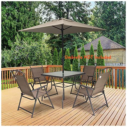 Garden and Outdoor Crestlive Products 5 Piece Patio Dining Set with 4 Folding Chairs and Table Outdoor Dining Furniture with Square Glass… patio dining sets