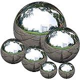 zosenda Stainless Steel Gazing Ball, 6 Pcs 50-150 mm Mirror Polished Hollow Ball Reflective Garden Sphere, Floating Pond…