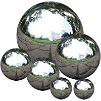 zosenda Stainless Steel Gazing Ball, 6 Pcs 50-150 mm Mirror Polished Hollow Ball Reflective Garden Sphere, Floating Pond…
