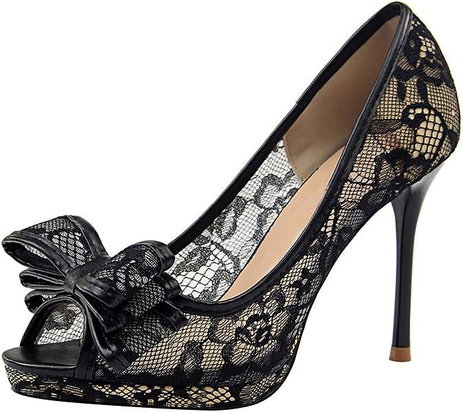 0357550d182c MGM-Joymod Women s Slip-on Peen Toe Stiletto Heel Netted Lace Bowknot  Elegant Bridal Evening Formal Wedding Party Dress Sandals (Black) 2 M UK   ...