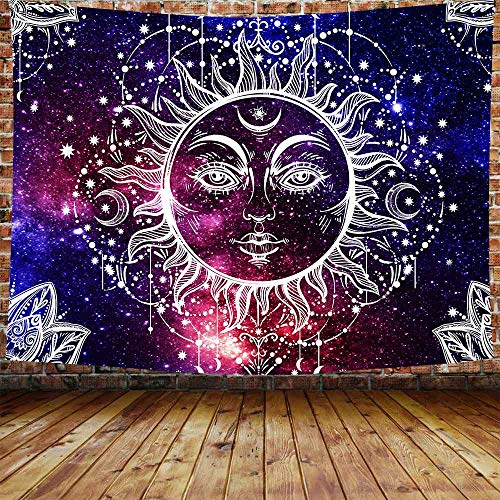 Sun and Moon Tapestry Sun Wall Hanging Psychedelic Wall Tapestry Blue Celestial Tapestry Indian Hippy Bohemian Mandala Tapestry for Bedroom Living Room Dorm 80×60 Inches ()