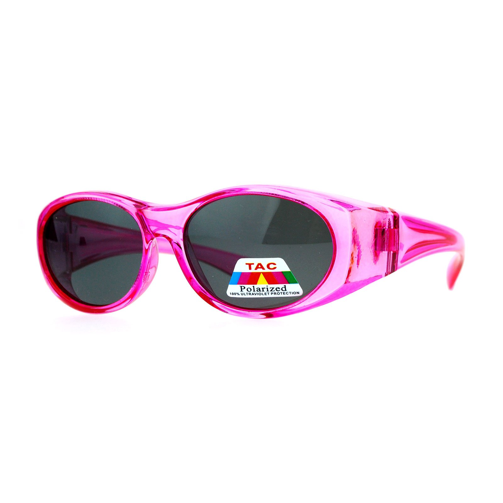 Kid's Polarized Fitover Sunglasses Over the Glasses Shades for Boys Girls (pink, 49)