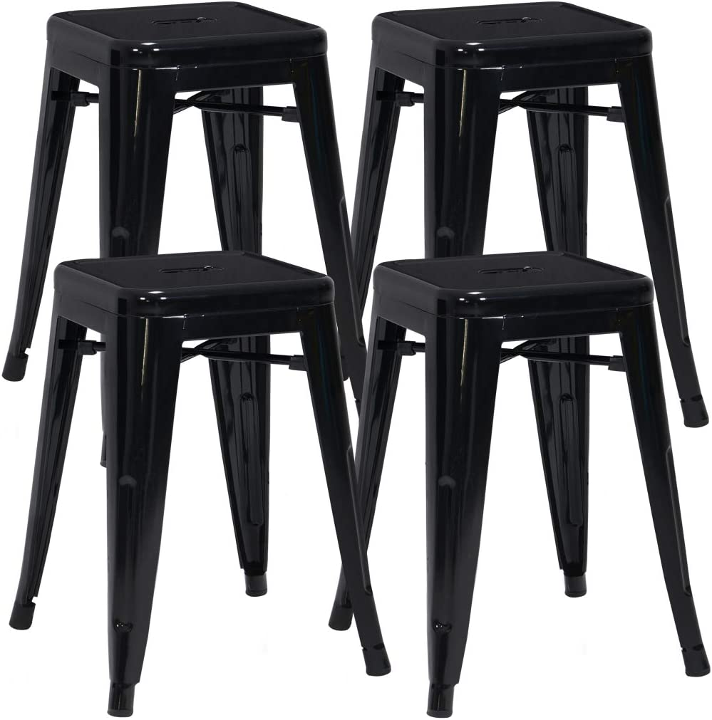 Duhome 4 pcs 18 Metal Chairs Tolix Style Dining Stools Indoor Outdoor Restaurant Cafe Industrial Design Black