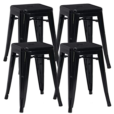 Astonishing Duhome 4 Pcs 18 Metal Chairs Tolix Style Dining Stools Indoor Outdoor Restaurant Cafe Industrial Design Black Gmtry Best Dining Table And Chair Ideas Images Gmtryco