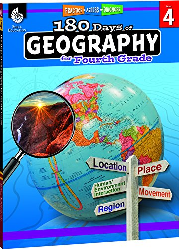 180 Days of Geography for Fourth Grade - Fun Daily Practice to Build 4th Grade Geography Skills - Geography Workbook for Kids Ages 8 to 10 -