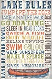 Lake Rules – Barnwood Painting (12×18 Collectible Art Print, Wall Decor Travel Poster) Picture