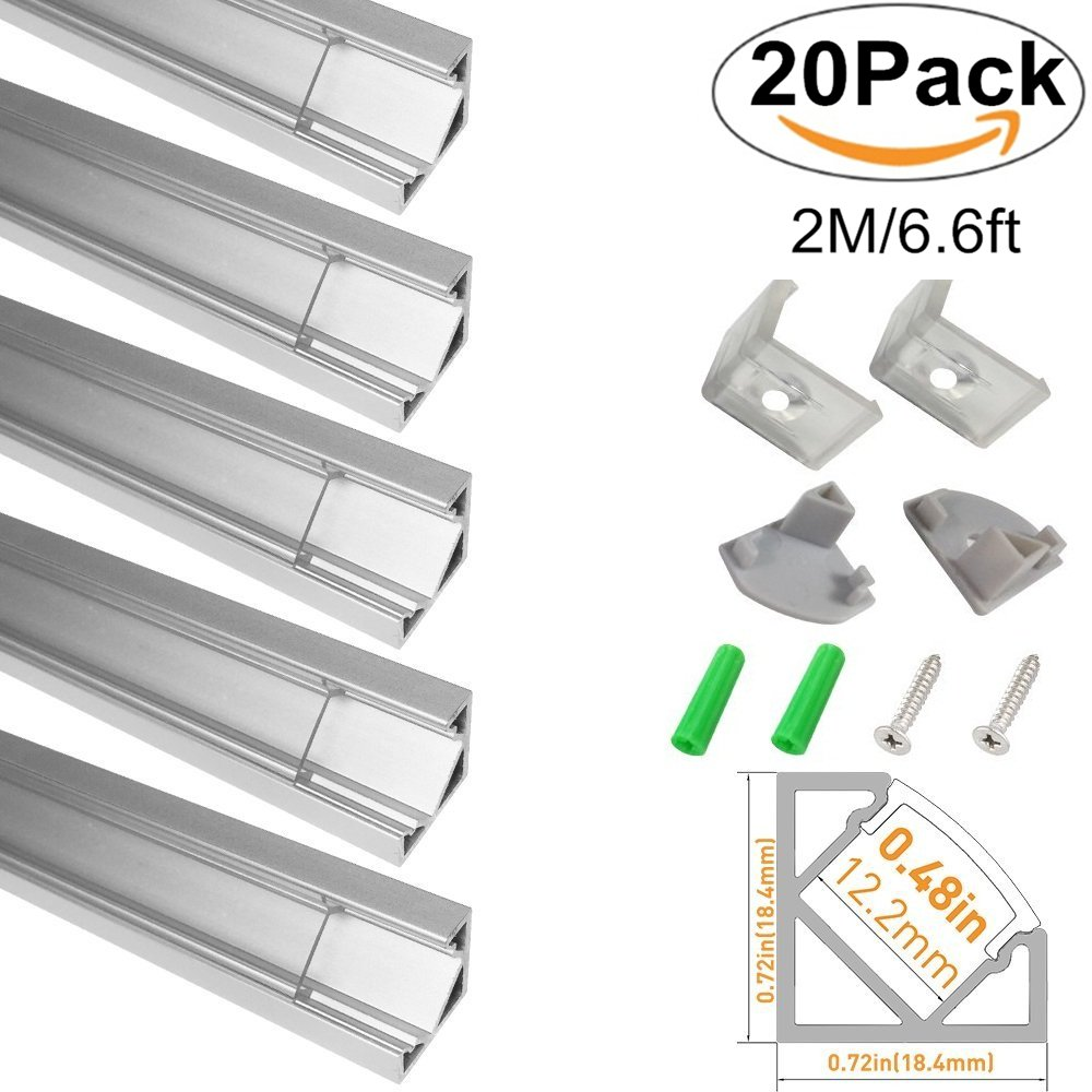 LightingWill Clear LED Aluminum Channel V Shape Corner Mount 6.6Ft/2M 20 Pack Anodized Silver Profile for <12mm 5050 3528 LED Flex/Hard Strip Lights with Covers, End Caps, and Mounting Clips TP-V03S20 by LightingWill