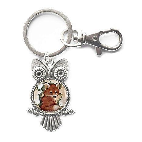 Amazon.com: Llavero de búho de zorro, joyería simple ...