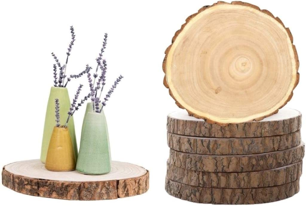 Natural Rustic Wood Slice 4 Pack – Round Wood Discs for Crafts 7–9 in Diameter Unfinished Natural Tree Wedding Decor Christmas Decorations Wooden Circles for DIY Arts and Craft Christmas Ornaments