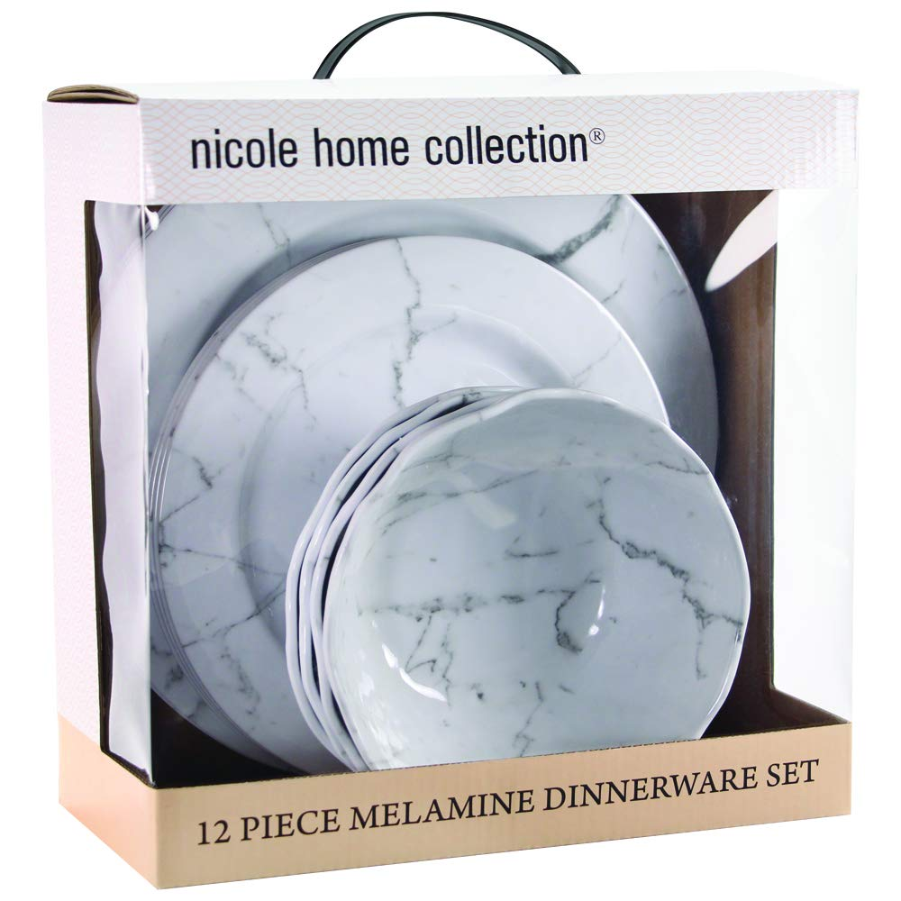 Lightweight 12-Piece Melamine Dinnerware Set BPA Free Unbreakable For Outdoor//Indoor Use Rustic Blue Pattern Service For 4