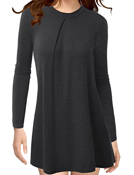 0414fe08d1123 TWINTH Womens Long Sleeleve High Neck Pleats Detail Tunic Top Charcoal Small