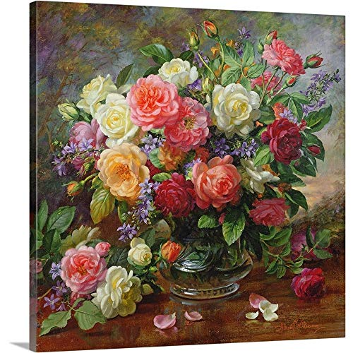 Roses – The Perfection of Summer Canvas Wall Art Print, 30 x30 x1.25