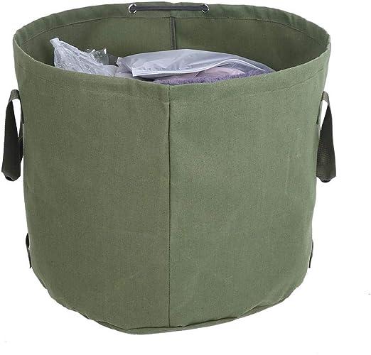 Reutilizable Cubo portátil Herramienta de jardín Lona Impermeable Jardín Césped Hoja Basura Bolsa de Basura Contenedor de Almacenamiento Tote: Amazon.es: Hogar