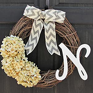 Year Round Monogram Wreath for Front Door Decor; Initial Letter Choice; Personalized Summer Spring Front Door Hanger with Artificial Cream Hydrangeas 86
