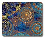 Smooffly Non Slip Mouse Pad For Office, Computer, Laptop & Mac - Durable & Comfortable & Lightweight For Easy Typing-Art Grunge Stylized Damask Pattern With Circles Floral Ornament In Blue